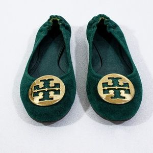Tory Burch - Tree Green Suede Reva Ballet Flats